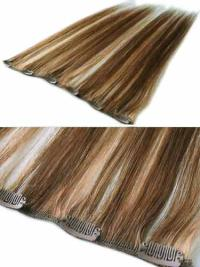 Brown Remy Human Hair Straight Hair Extensions For Mature Ladies
