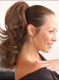 Brown Wavy Synthetic Flexibility Ponytails