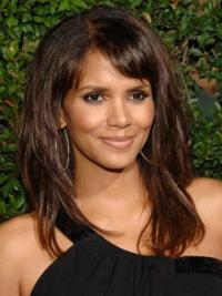 With Bangs Long Celebrity Human Hair Trendy Halle Berry Wigs