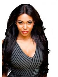 Black Remy Human Hair Straight 18 Inches Soft Lace Closure For Wigs
