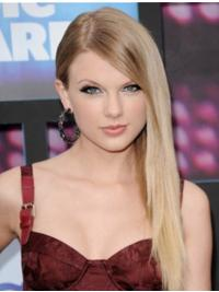 Blonde Straight Lace Front Trendy Taylor Swift Long Wig With Bangs Human Hair