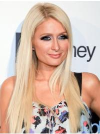 Remy Human Hair Long 100% Hand-Tied Without Bangs Fashion Paris Hilton Wigs