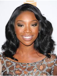 Indian Without Bangs Lace Front Jennifer Hudson Cheap Black Human Wigs