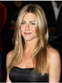 "Straight Wigs Human Hair 18"" Blonde 100% Hand-Tied Cheapest Jennifer Aniston Wigs"