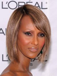 """Lace Front Remy Human Hair Brown Chin Length 10"""" Straight Iman Wigs"""