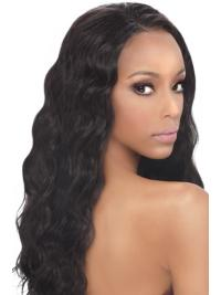 "20"" Synthetic Without Bangs Wavy Long Black Modern African American Wigs"