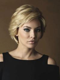 Trendy Wavy Layered Blonde Human Hair Short Wigs