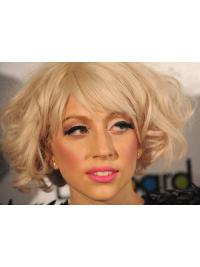 Curly Chin Length Remy Human Hair 11 Inches Great Lady Gaga Wigs