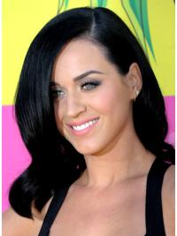 "Online 14"" Lace Front Layered Shoulder Length Katy Perry Human Hair Wavy Black Wigs"
