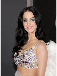 Black Long Celebrity Human Wigs Style Katy Perry