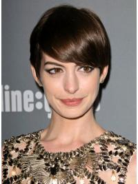 "Brown Boycuts 6"" Anne Hathaway Natural Lace Front Wigs Human Hair"