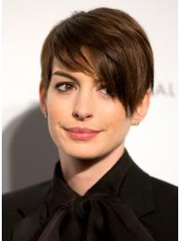 "Lace Front Boycuts 6"" Affordable Anne Hathaway Dark Brown Human Hair Wig"