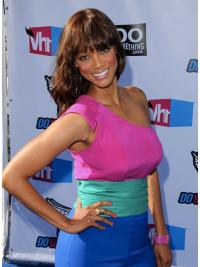 Wavy Shoulder Length Gorgeous Tyra Banks Real Human Hair Full Lace Wigs