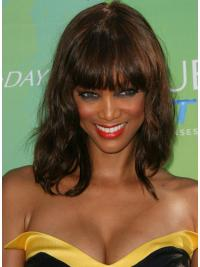Capless With Bangs Wavy 14 Inches Trendy Tyra Banks Human Hair Wigs