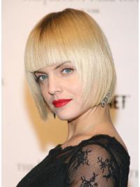 Ideal 100% Hand-Tied Bobs Chin Length Straight Blonde Mena Suvari Wigs