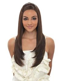 Modern Capless Brown Straight Long Afro Synthetic Wigs