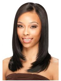 Black Straight Shoulder Length Natural U Part Wig