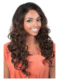 Lace Front Long Brown African American Discount Human Hair Wigs
