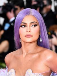 Purple Without Bangs Straight Long Kylie Jenner Wigs