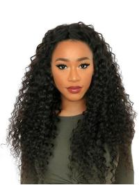 Discount Black Without Bangs 24 Inches 360 Full Lace Wig Human Hair