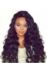 Suitable Black Without Bangs 20 Inches 360 Lace Wig Human Hair