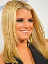100% Hand-Tied Blonde Remy Human Hair Soft Jessica Simpson Wigs