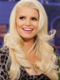 100% Hand-Tied Blonde Remy Human Hair Exquisite Jessica Simpson Long Wigs