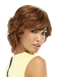 "11"" Auburn Trendy Medium Human Hair Wavy Wigs"