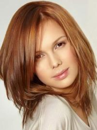 Shoulder Length Layered Straight Human Hair Remy Lace Front Wigs