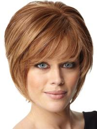 Designed Auburn Capless Short Bob Human Hair Lace Wigs