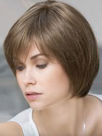 You'll set a precedent with this medium-length silky straight bob style wig with natural side textured bangs.