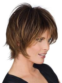 "Brown Human Hair Wig Stylish Short Layered Capless 8"""