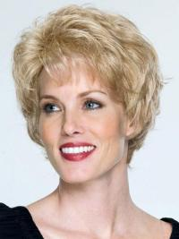 "Short Capless Blonde 8"" Hairstyles Blonde Wet And Wavy Human Hairwigs"