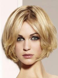 The short bob wig has cheek-length middle-parting bang with scissors cut ends.