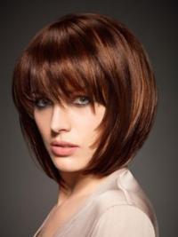 "Capless Auburn Straight 10"" Human Hair Bob Style Wigs"