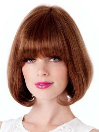 It is a smooth classic bob with full bangs that can be worn straight or swept to one side.