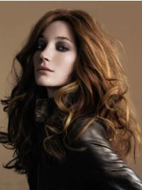 Brown Without Bangs Wavy No-Fuss Hand Tied Human Hair Wigs
