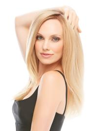"Amazing 17"" Blonde Long Layered Straight Lace Front 100 Percent Human Hair Wig"
