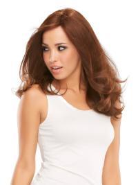"""Sassy 16"""" Auburn Long Layered Wavy Mono 100 Percent Remy Human Hair Wigs"""