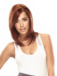 """Cheap 14"""" Auburn Shoulder Length Layered Straight 100% Human Hair Lace Front Wigs"""