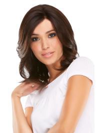 Shoulder Length Beautiful Auburn Wavy Layered Human Lace Front Wigs