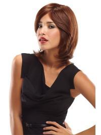 Stylish Shoulder Length Wavy Auburn Layered Natural Looking Human Hair Wigs
