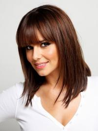 16 Inches With Bangs Straight Capless Medium Length Wigs That Look Natural