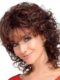 Curly With Bangs Auburn Online Classic Synthetic Wig Mid Length
