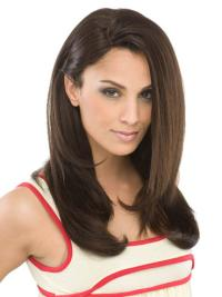 Flexibility Brown Straight Long Hair Synthetic Wigs Heat Friendly