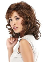 Layered Wavy Shoulder Length Synthetic Trendy Lace Cap Wigs