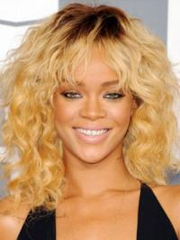 Capless Layered Shoulder Length Sleek Rihanna Blonde Wig