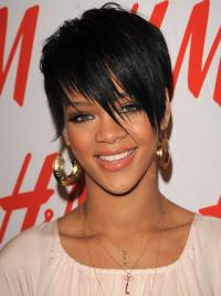 """4"""" Synthetic Lace Front Boycuts Black Cropped Rihanna Wigs"""