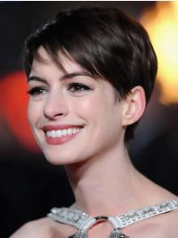 "Lace Front Brown Boycuts 4"" Popular Anne Hathaway A Hundred Percent Human Hair Wigs"