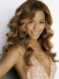"Brown Without Bangs 18"" Flexibility Beyonce Human Brazilian Lace Wigs On Sale"